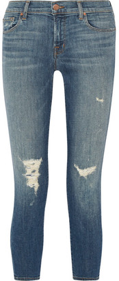 J Brand - Distressed Low-rise Skinny Jeans - Mid denim $230 thestylecure.com