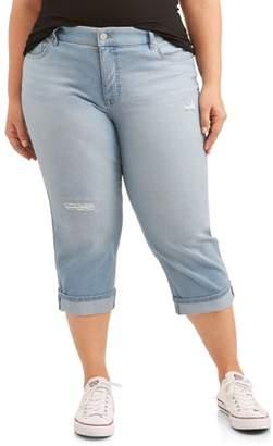 Terra & Sky Women's Plus Size Wide Cuffed Comfort Waist Capri Jean