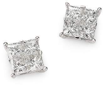 Bloomingdale's Diamond Seamless Princess-Cut Studs in 14K White Gold, 2.50 ct. t.w. - 100% Exclusive