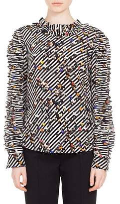 Akris Punto Crossroad Print Silk Blouse