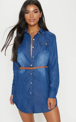PrettyLittleThing Bleach Wash Belted Denim Shirt Dress
