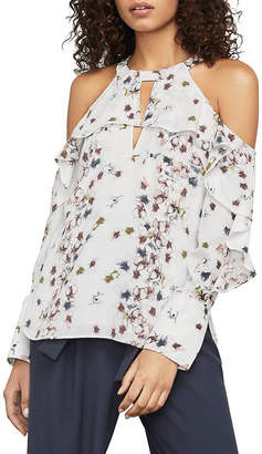 BCBGMAXAZRIA Ruffled Floral Cutout Top