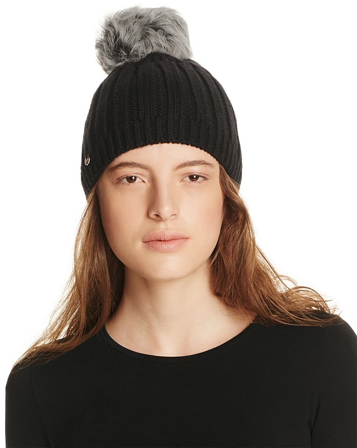 UGG UGG® Solid Ribbed Beanie with Shearling Sheepskin Pom-Pom