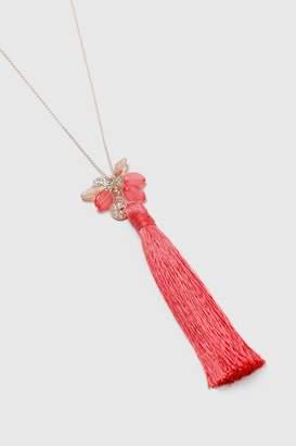 Wallis Coral Tassel Clustered Necklace
