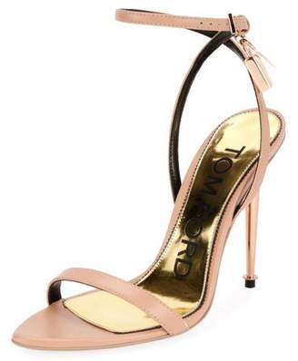 Tom Ford Lock Ankle-Wrap Soft Calf Leather Sandal