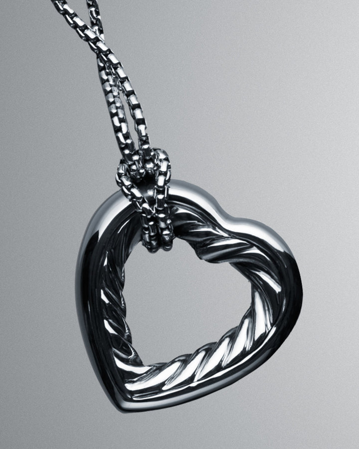 "David Yurman Cable Heart Pendant Necklace,20""L"