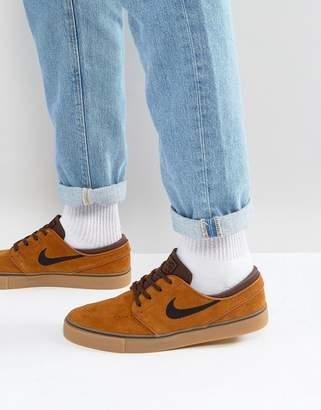 Nike Sb SB Zoom Stefan Janoski Gum Sole Sneakers In Brown 333824-214