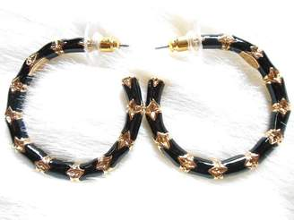 Kenneth Jay Lane Small Black Gold Bamboo Hoop Pierced Earrings