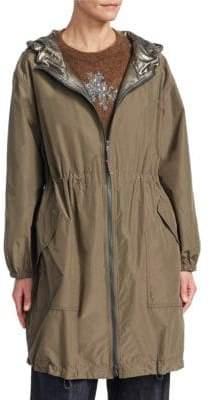 Brunello Cucinelli Taffeta Long Hoodied Zip Jacket