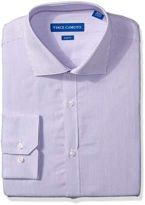 Vince Camuto Men's Slim Fit Thin Dobby Stripe Dress Shirt