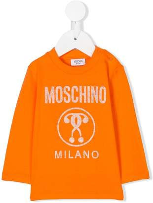 Moschino Kids logo print jersey top
