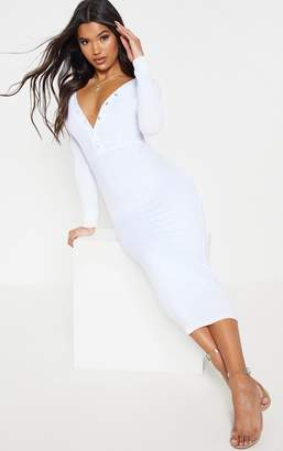 PrettyLittleThing White Rib Popper Front Plunge Bodycon Dress