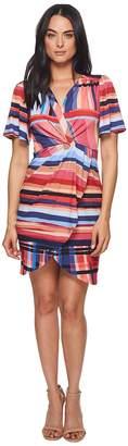 Catherine Malandrino Nyla V-Neck Short Sleeve Twist Front Mini Dress Women's Dress