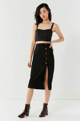 BOG Collective Button-Down Linen Midi Skirt