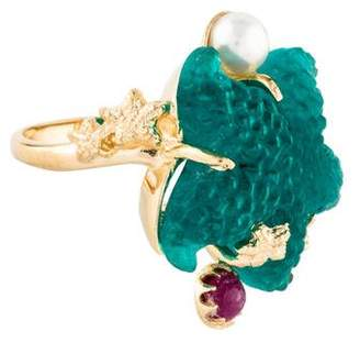 Tagliamonte 18K Pearl & Ruby-Accented Venetian Intaglio Cocktail Ring