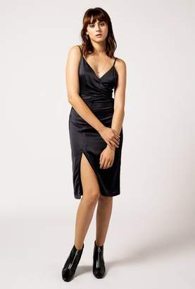 Azalea Satin Wrap Midi Dress