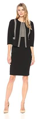 Danny & Nicole Women's Two Piece 3/4 Sleeve Jacket and Crepe Jacquard Dress