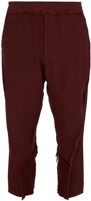 BY WALID Hiro crochet-trim linen trousers