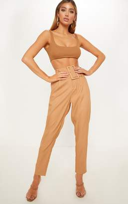 PrettyLittleThing Deep Stone Super High Waisted Belted Tapered Trouser