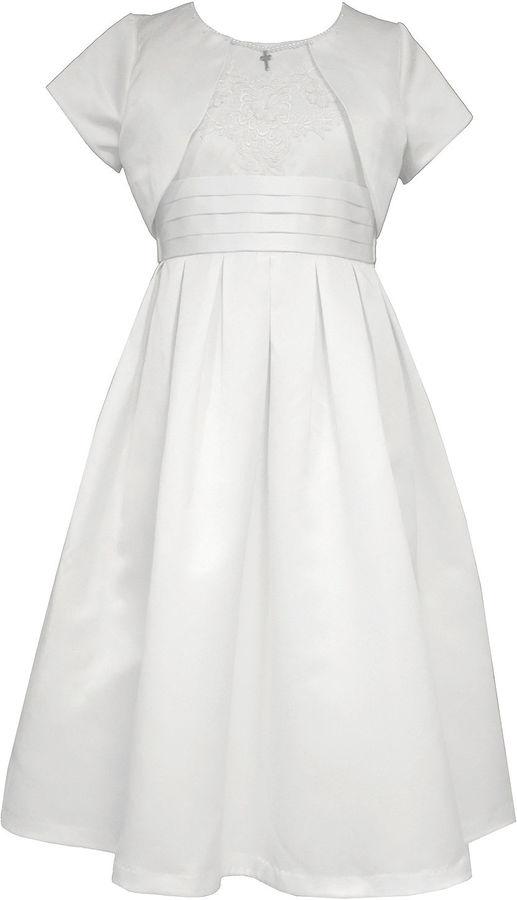 Bonnie JeanBonnie Jean Satin Communion Dress w/Shrug - Girl's 7-12 and Plus