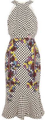 Saloni - Ruby Embellished Printed Silk Midi Dress - White $650 thestylecure.com