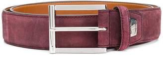 Santoni suede logo plaque belt