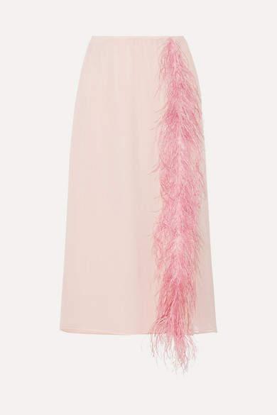 Prada - Feather-trimmed Silk-georgette Midi Skirt - Pastel pink