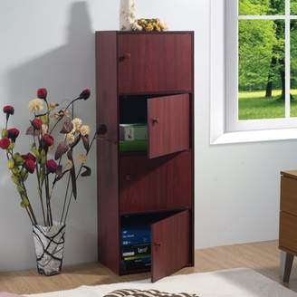 Homesource Home Source Veronica 4-Door Utility Cabinet, Mahogany