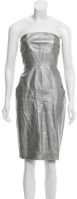 Chanel Strapless Lamb Leather Mini Dress
