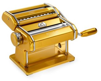 Marcato Atlas Pasta Machine, Made in Italy, Stainless Steel, Gold, Includes Pasta Cutter, Hand Crank, and Instructions