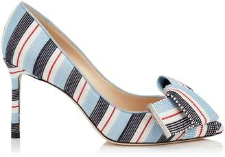 Jimmy Choo Tegan 85 Striped Bow Pumps