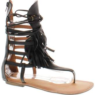 Liliana BESTON Avis-4 Women's Flat Lace Up 3 Layers Fringe Flip Flop Gladiator Sandal