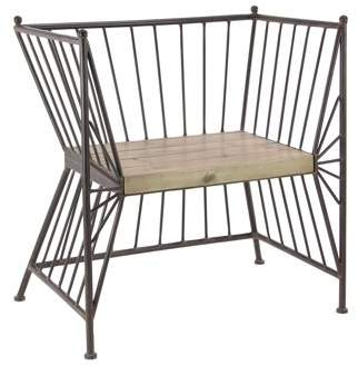 DecMode Decmode Modern Metal Chair With Wooden Slab Seat, Gray