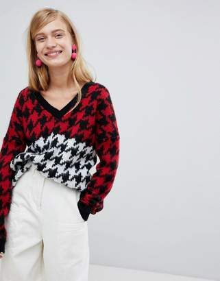Asos DESIGN chunky sweater in mixed houndstooth pattern