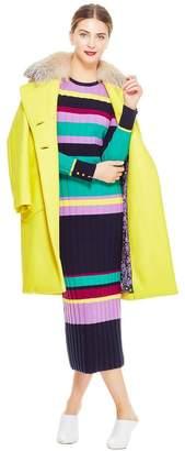 Lela Rose Brushed Wool Detachable Fur Collar Coat
