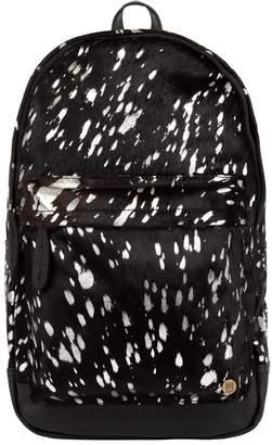 Mahi Leather Classic Cowhide Leather Backpack Rucksack In Black & Silver
