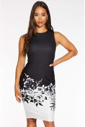 Quiz Black and White Floral Print Midi Dress