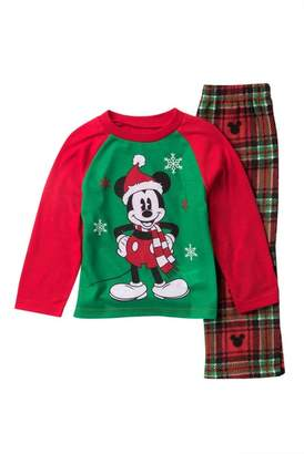 AME Mickey Mouse Holiday Plaid Fleece Pajama Set (Toddler)