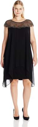 Xscape Evenings Women's Plus Size Short Ity with Chiffon Overlay and Beaded Neck