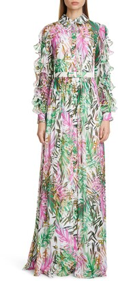 Badgley Mischka Ruffle Long Sleeve Floral Print Gown