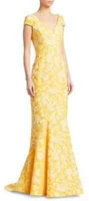 Zac Posen Women's Cap Sleeve Gown - Yellow - Size 4