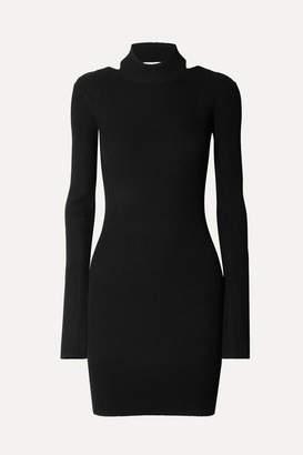 Helmut Lang Open-back Ribbed-knit Mini Dress - Black