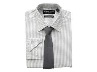 Nick Graham Mini Windowpane CVC Stretch Dress Shirt Tie Set
