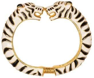 Kenneth Jay Lane Black And White Enamel Tiger Bracelet