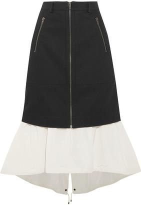 KENZO - Layered Denim And Shell Midi Skirt - Black $680 thestylecure.com