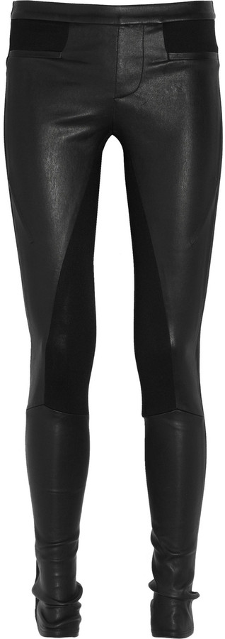 Helmut Lang Leather and stretch-jersey leggings