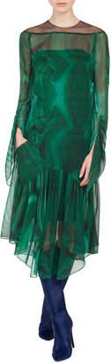 Akris Draped-Sleeve A-Line Malachite-Print Silk Crepe Dress w/ Slits