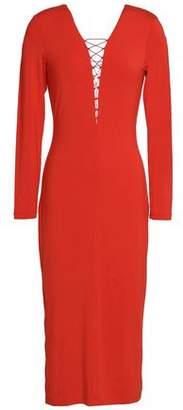 Alexander Wang Lace-Up Stretch-Modal Jersey Midi Dress