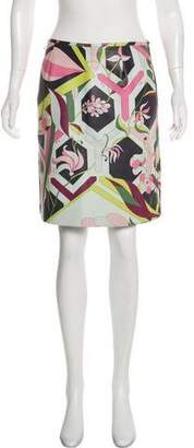 Emilio Pucci Leather Printed Skirt