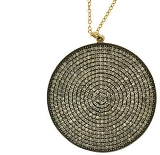 14K Yellow Gold Hip Boho Style Circle Round With Diamonds Pendant Necklace